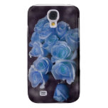 Blue Rose colorized bouquet spotted background Samsung Galaxy S4 Cases
