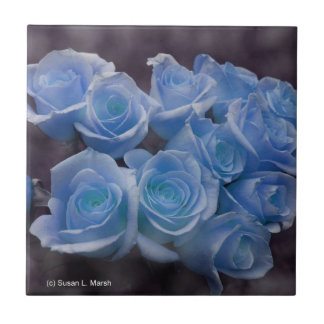Blue Rose colorized bouquet spotted background Ceramic Tile