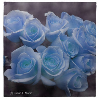 Blue Rose colorized bouquet spotted background Cloth Napkin