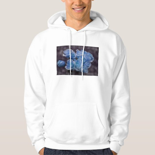 Blue Rose colorized bouquet spotted background Hoodie