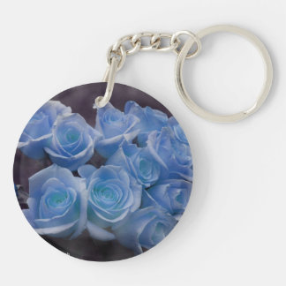 Blue Rose colorized bouquet spotted background Acrylic Keychain