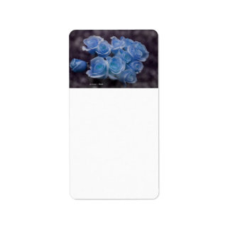Blue Rose colorized bouquet spotted background Address Label