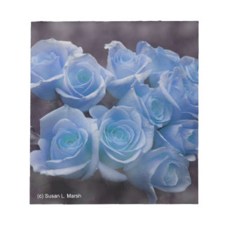 Blue Rose colorized bouquet spotted background Note Pad