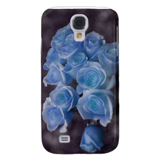 Blue Rose colorized bouquet spotted background Samsung S4 Case
