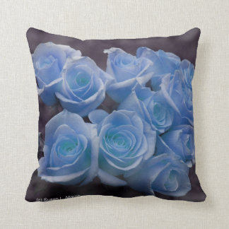 Blue Rose colorized bouquet spotted background Throw Pillow