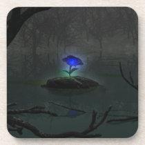 Blue Rose Cork Coaster