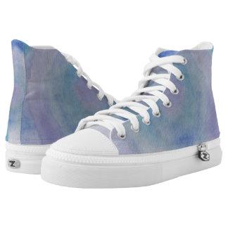 Blue Rose Dance Hi Top Printed Shoes