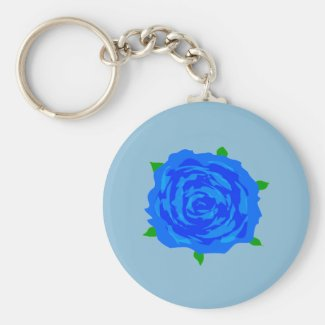 Blue Rose Design on Keychain