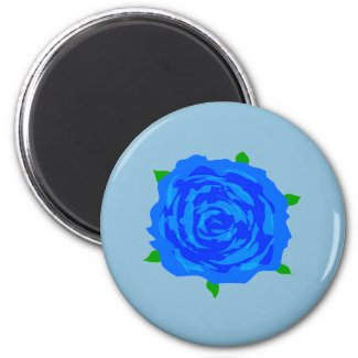 Blue Rose Design on Magnet