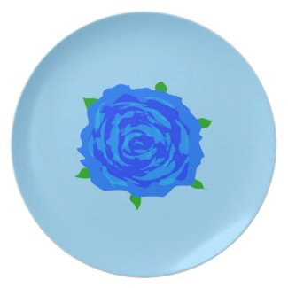 Blue Rose Designed Dinner Plate