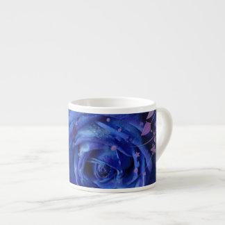 Blue Rose Espresso Mug 6 Oz Ceramic Espresso Cup