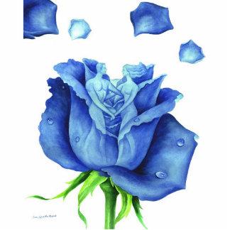 Blue Rose Flower Painting Art Man Woman Figure Statuette