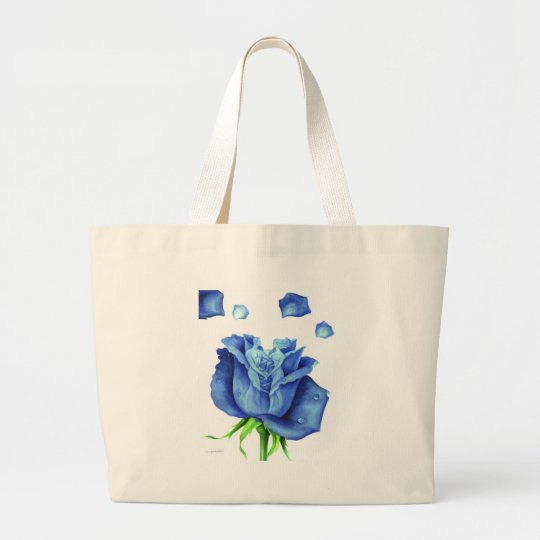 Blue Rose Flower Painting - Multi Large Tote Bag