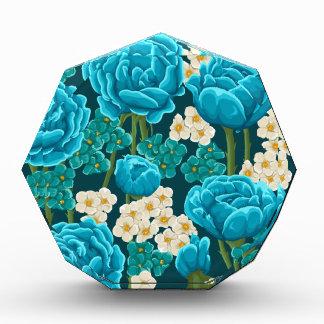 Blue rose flower retro vintage illustrated pattern acrylic award
