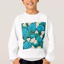 Blue rose flower retro vintage illustrated pattern sweatshirt