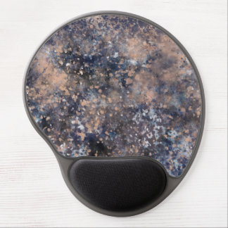 Blue & Rose Gold Paint Splatter Abstract Glamour Gel Mouse Pad