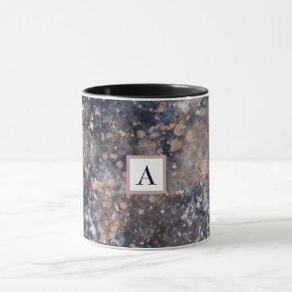 Blue & Rose Gold Paint Splatter Abstract Glamour Mug