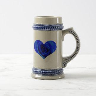 Blue Rose Heart Mug
