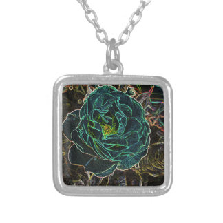 Blue Rose Line Drawing Silver Plated Necklace