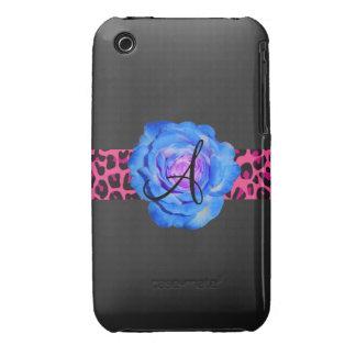 Blue rose monogram iPhone 3 Case-Mate case