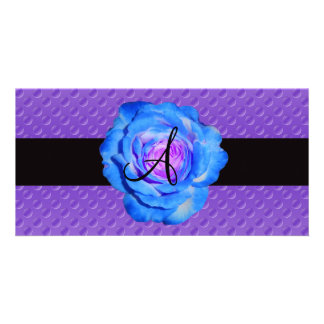 Blue rose monogram purple polka dots photo card