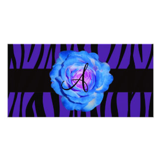 Blue rose monogram purple zebra stripes pattern photo card