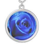 Blue rose necklace