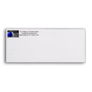 Blue Rose On Left Side Silver Background Envelope