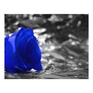 Blue Rose On Left Side Silver Background Flyers