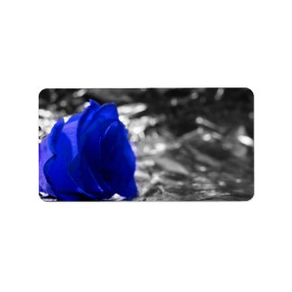 Blue Rose On Left Side Silver Background Address Label