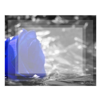 Blue Rose On Left Side Silver Background Letterhead