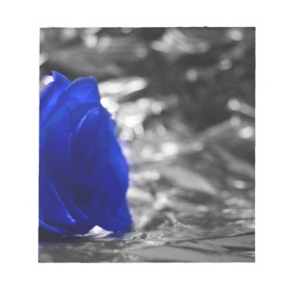 Blue Rose On Left Side Silver Background Scratch Pad