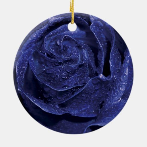 Blue Rose Double-Sided Ceramic Round Christmas Ornament