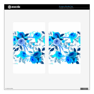 Blue Rose Pattern Kindle Fire Decal