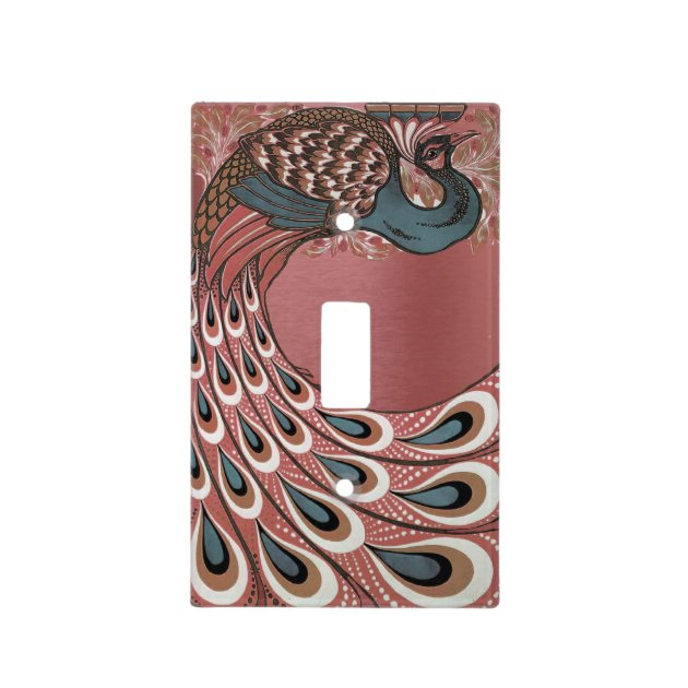 Copper Peacock Feather Peacock Home Decor Metal Light Switch Plate Cover