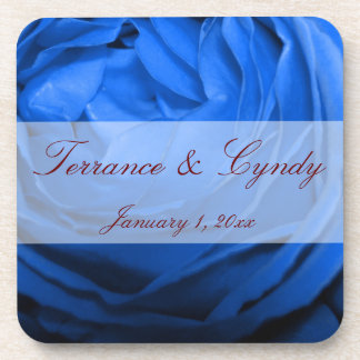 Blue Rose Personal Wedding Beverage Coaster