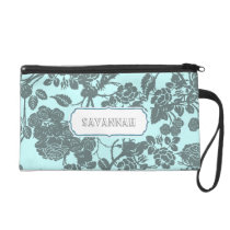 Blue Rose personalized Clutch bridesmaid gift