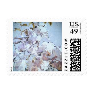 Blue Rose Petals Floral Stamps
