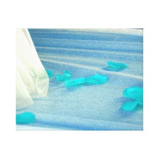 Blue Rose Petals Wedding Dress Train Canvas Print