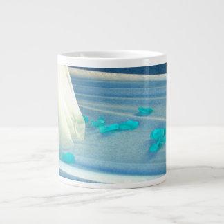 Blue Rose Petals Wedding Dress Train Large Coffee Mug