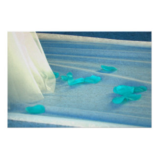Blue Rose Petals Wedding Dress Train Poster