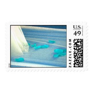 Blue Rose Petals Wedding Dress Train Stamps