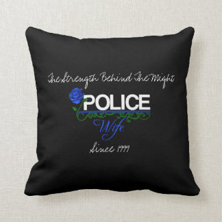 Blue Rose Police Wife Decor Pillow