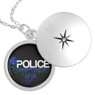Blue Rose POLICE WIFE Locket Necklace