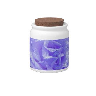 Blue Rose Porcelain Candy Jar