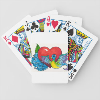Blue rose, Red Heart and Tattoo Sparrow Bicycle Playing Cards