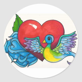 Blue rose, Red Heart and Tattoo Sparrow Classic Round Sticker