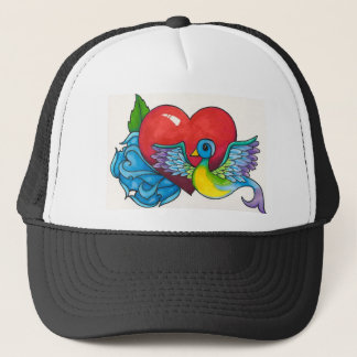 Blue rose, Red Heart and Tattoo Sparrow Trucker Hat