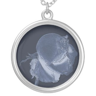 blue rose romantic necklace