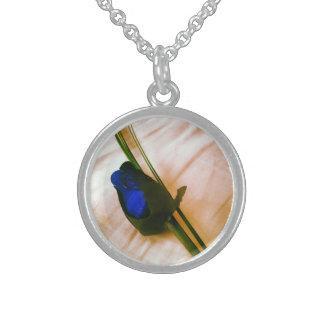 Blue Rose Round Pendant Necklace